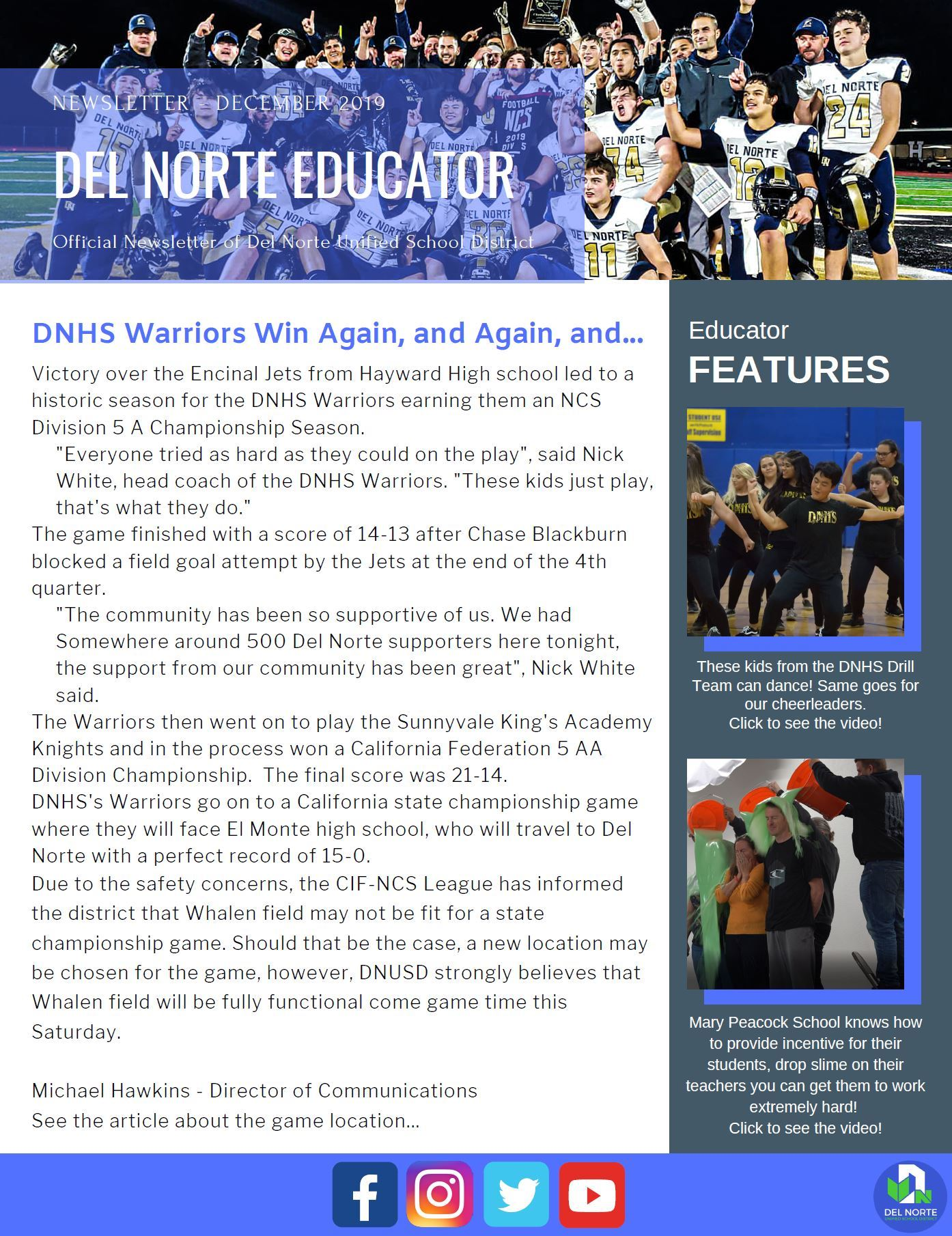 Del Norte Educator Newsletter - December 2019
